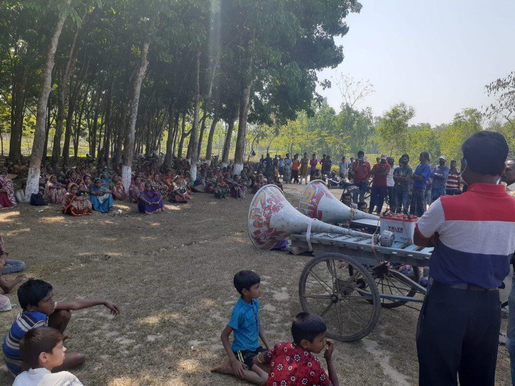 চা-বাগান ছুটি ঘোষণার দাবি রাজনগরে চা শ্রমিকদের কর্মবিরতি ও সমাবেশ
