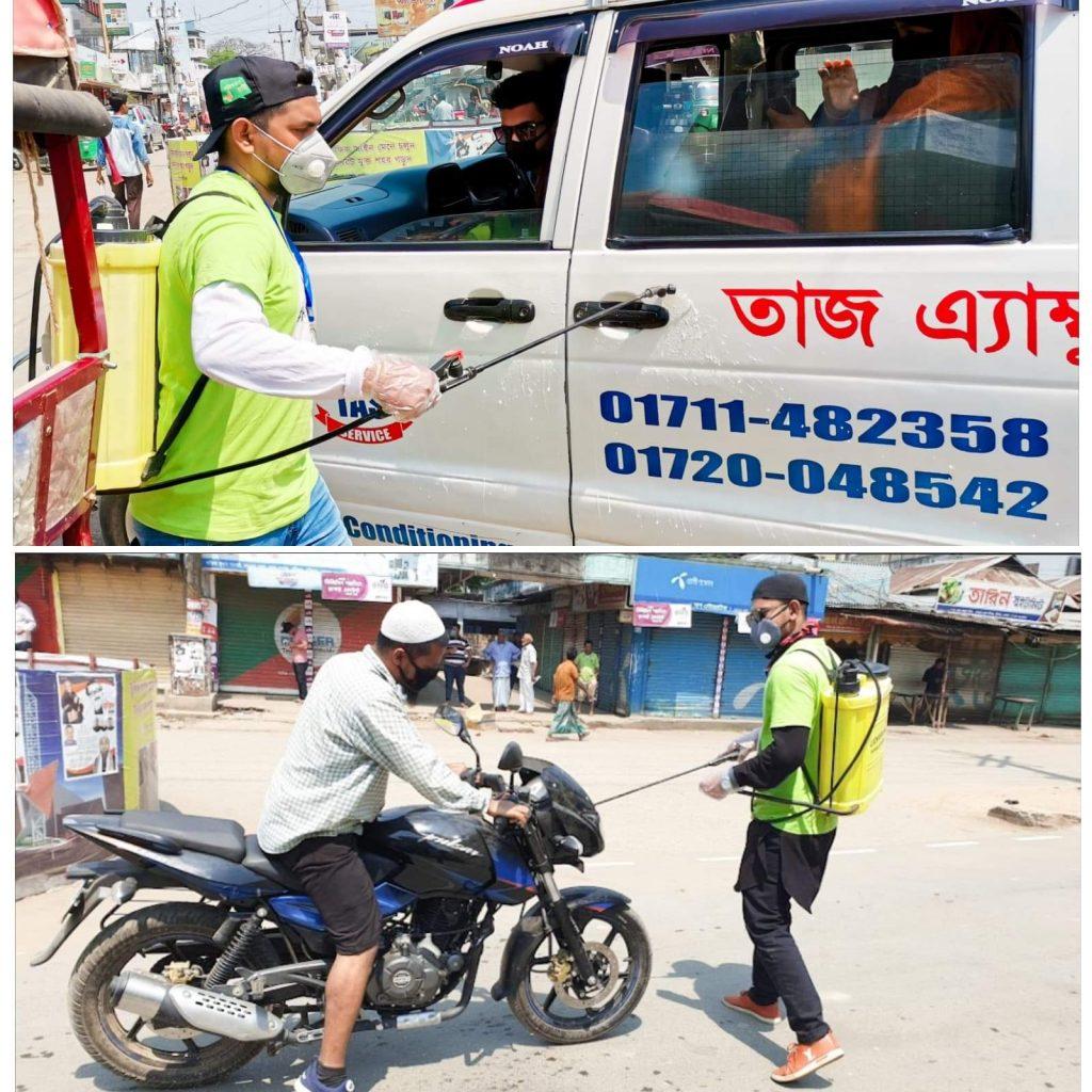 নবীগঞ্জে যানবাহনে জীবাণুনাশক ছিটিয়েছে 'দ্যা রিলেশন টু পিপল'